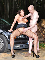Dirty cum slut Carly drove out into the woods looking for some dogging action. And she found what she was looking for when she came across a big hard guy lurking in the woods, ready to take her over the car bonnet